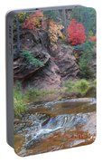 Rainbow Of The Season And River Over Rocks Portable Battery Charger