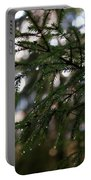 Raindrops On The Spruce Twig Portable Battery Charger