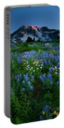 Rainier Wildflower Dawn Portable Battery Charger by Mike  Dawson
