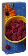 Raspberries In Yellow Bowl Portable Battery Charger