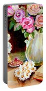 Red And Pink Roses And Daisies - The Doves Of Peace-angels And The Bible Portable Battery Charger