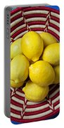 Red And White Basket Full Of Lemons Portable Battery Charger