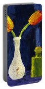 Red And Yellow Tulips In Vase Abstract Palette Knife Painting Portable Battery Charger