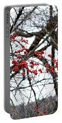 Red Berries White Sky Portable Battery Charger