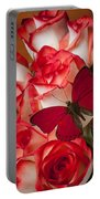Red Butterfly On Blush Roses Portable Battery Charger