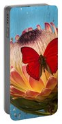 Red Butterfly On Protea Portable Battery Charger