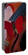 Red Butterfly On Violin Portable Battery Charger