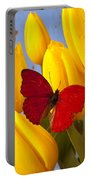 Red Butterful On Yellow Tulips Portable Battery Charger