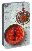 Red Compass And Rose Compass Portable Battery Charger