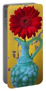 Red Daisy In Grape Vase Portable Battery Charger