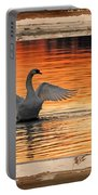 Red Dawn Swan Framed In Old Window Frame Portable Battery Charger