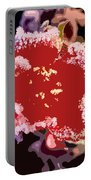 Red Flower With Frost Portable Battery Charger