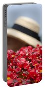 Red Flowers And Straw Hat Portable Battery Charger
