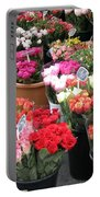 Red Flowers In French Flower Market Portable Battery Charger