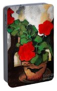 Red Geranium Portable Battery Charger