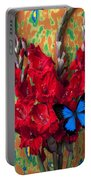 Red Gladiolus And Blue Butterfly Portable Battery Charger