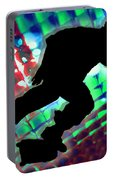 Red Green And Blue Abstract Boxes Skateboarder Portable Battery Charger