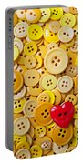 Red Heart And Yellow Buttons Portable Battery Charger