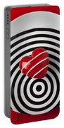 Red Heart On Circle Plate Portable Battery Charger