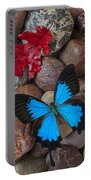 Red Leaf And Blue Butterfly Portable Battery Charger