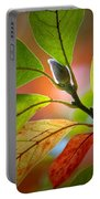 Red Magnolia Leaves With Bud Portable Battery Charger