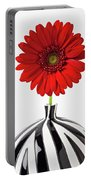 Red Mum In Striped Vase Portable Battery Charger