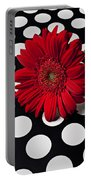 Red Mum With White Spots Portable Battery Charger by Garry Gay