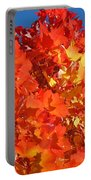 Red Orange Yellow Autumn Leaves Art Prints Vivid Bright Portable Battery Charger