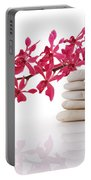 Red Orchid With Balance Stone Portable Battery Charger