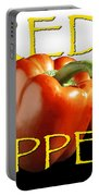 Red Peppers On White And Black Portable Battery Charger
