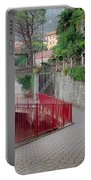 Red Rail Walkway To Varenna Along Lake Como Portable Battery Charger