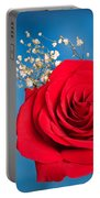 Red Rose And Baby Breath Portable Battery Charger