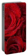 Red Roses And Water Drops Portable Battery Charger