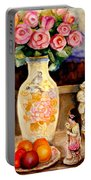 Red Roses Yellow Daffodils In Hand Painted Oriental Antique Vases With Fruit Plate Doves And Angels Portable Battery Charger