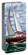 Red Sailboat Green Sea Blue Sky Portable Battery Charger