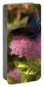 Red Spotted Purple Butterfly On Sedum Portable Battery Charger