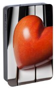 Red Stone Heart On Piano Keys Portable Battery Charger
