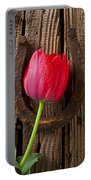 Red Tulip And Horseshoe  Portable Battery Charger