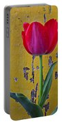Red Tulip With Yellow Wall Portable Battery Charger