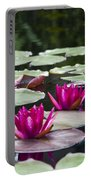 Red Water Lillies Portable Battery Charger