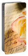 Red Yellow Rose Over A Hand Written Letter Portable Battery Charger