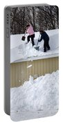 Removing Snow From A Building Portable Battery Charger