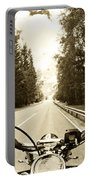 Riders Eye Veiw In Sepia Portable Battery Charger