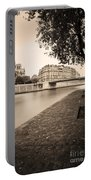 River Seine And Cathedral Notre Dame Portable Battery Charger