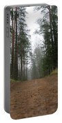 Road In A Pine Grove Portable Battery Charger