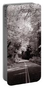 Road Through Autumn - Black And White Portable Battery Charger