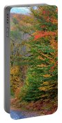 Road Through Autumn Woods Portable Battery Charger by Larry Landolfi and Photo Researchers