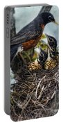 Robin And Babies In Nest Portable Battery Charger