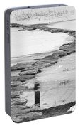 Rock Lake Crossing In Black And White  Portable Battery Charger