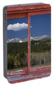 Rocky Mountain Autumn Red Rustic Picture Window Frame Photos Art Portable Battery Charger